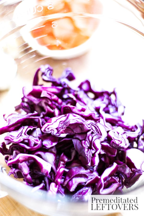 Red Cabbage Cole Slaw with Sriracha Mayo- red cabbage