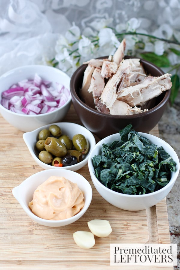 Chicken, Kale, and Raisin Salad Spread with Mini Pitas- ingredients