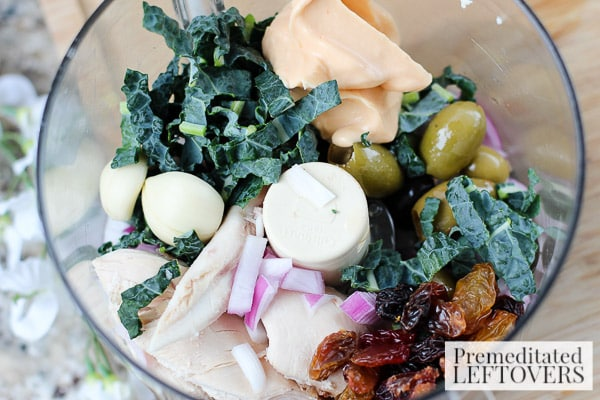 Chicken, Kale, and Raisin Salad with Mini Pitas- combine ingredients in food processor