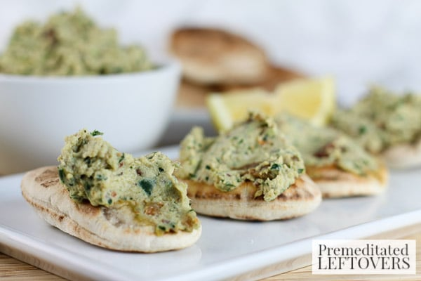 This Chicken, Kale, and Raisin Salad Spread is a delicious snack with mini pitas. It's also a great recipe for using leftover chicken you may have on hand.