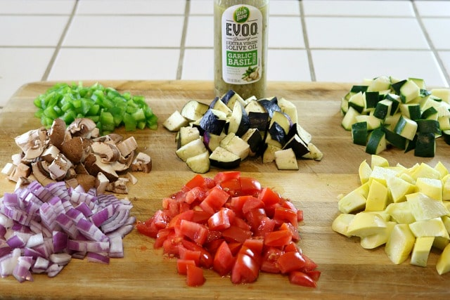 Chopped Vegetables for Ratatouille Chicken Bowls Recipe