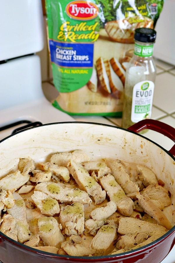 Cooking Tyson Grilled Chicken Strips in Wish-Bone EVOO Garlic and Basil Dressing for Ratatouille Chicken Bowls