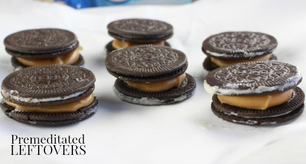 Turtle Candy Chocolate Dipped Oreo Cookies-sandwich cookies together