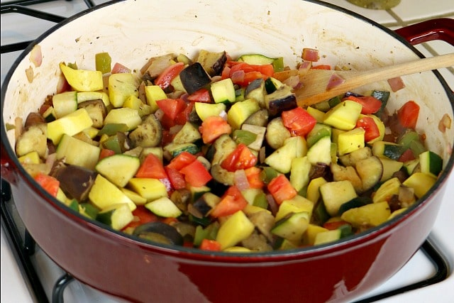 Ratatouille Chicken Bowls Recipe - Vegetables cooked in Wish-Bone EVOO Garlic and Basil Dressing