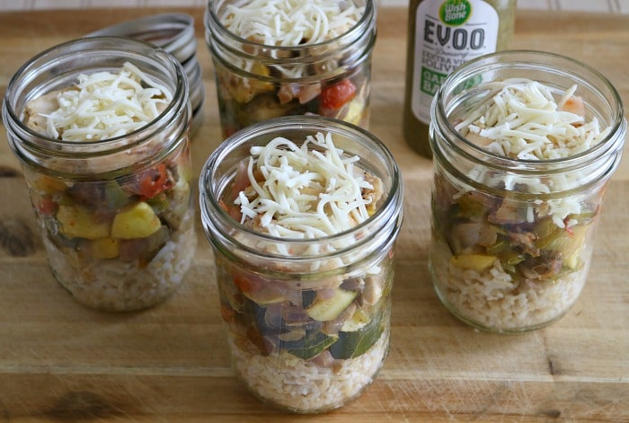 Ratatouille Chicken Bowls in Mason jars for make-ahead lunch idea