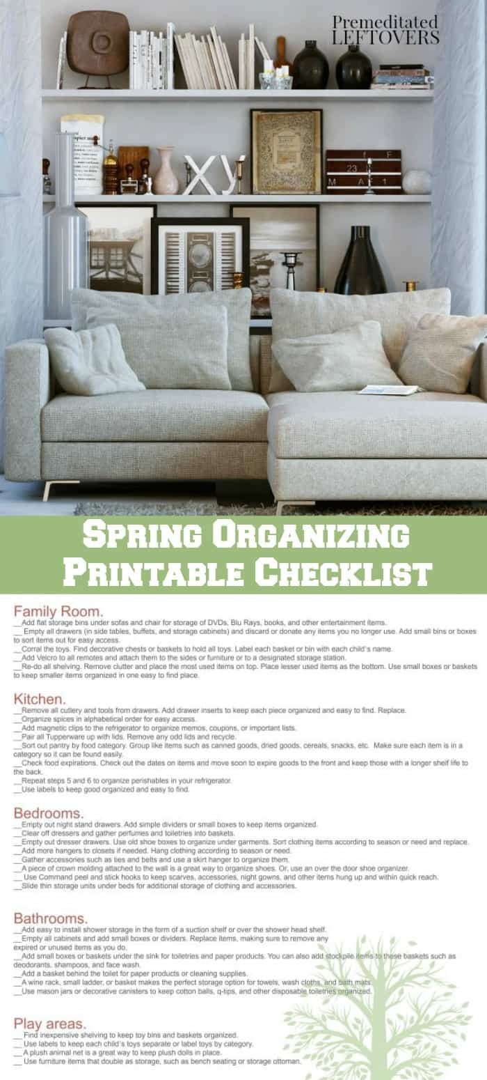 Spring Organizing Checklist with Printable