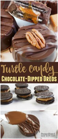 turtle candy chocolate dipped oreos recipe with pecans and caramel