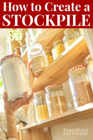 a stockpile of food in glass jars on shelves in a kitchen pantry