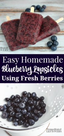 Easy Homemade Blueberry Popsicles Recipe - Make homemade blueberry popsicles with real blueberries. Just puree blueberries, sugar and water, then freeze. Includes directions for blueberry ice pops variation.