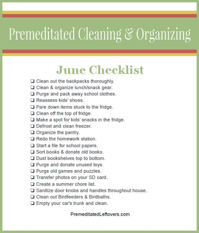End of School Year Cleaning and Organizing Checklist
