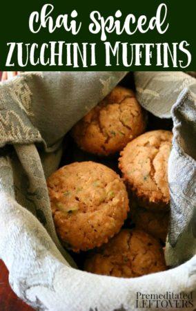 chai spiced zucchini muffins in a basket