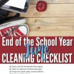 printable june cleaning checklist for cleaning up and organizing after the school year ends.