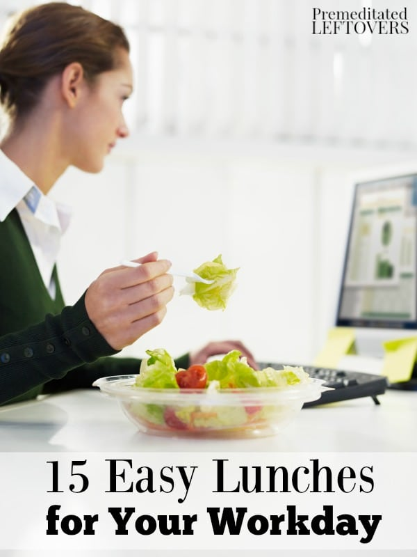 Packing lunches is a great way to save money. Here are 15 easy lunches for your workday that are easy to make and will add variety to your packed lunches.