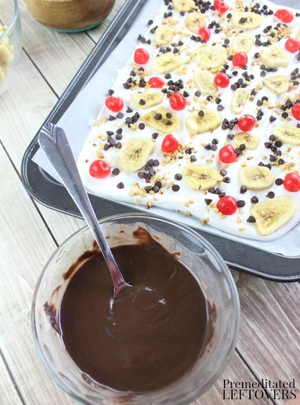 Banana Split Candy Bark Recipe - melt chocolate