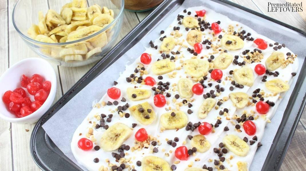 Banana Split Candy Bark - add cherries and bananas