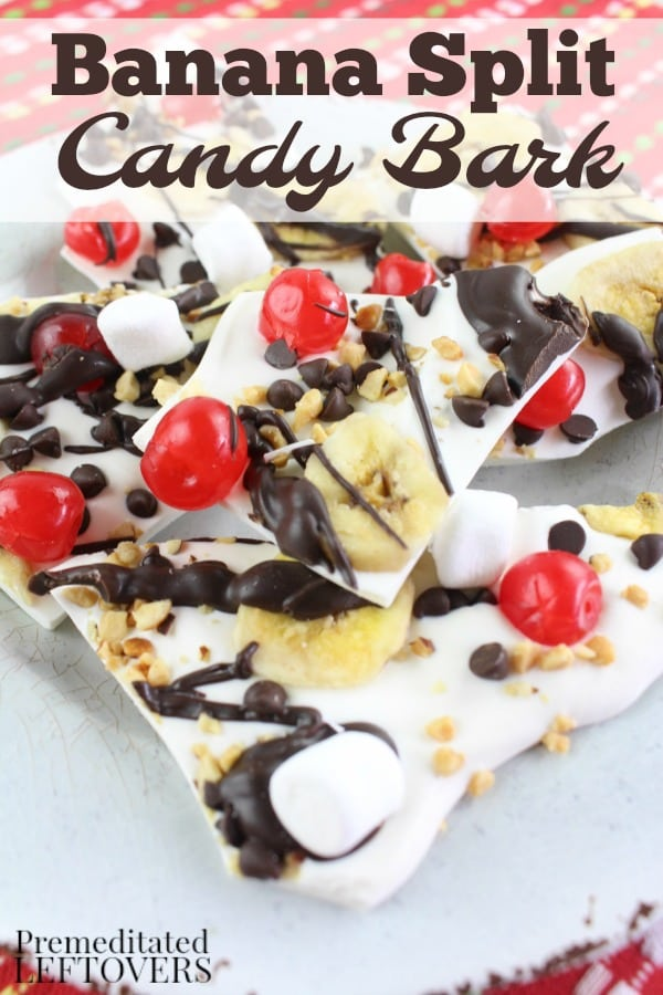 This Banana Split Candy Bark recipe is unbelievably quick and easy to make and contains all of the delicious flavors of the ice cream sundae.