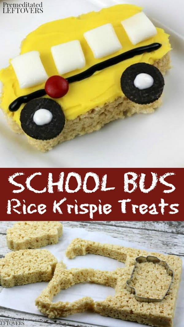 School bus Rice Krispie treats recipe using a bus cookie cutter, icing, and candy
