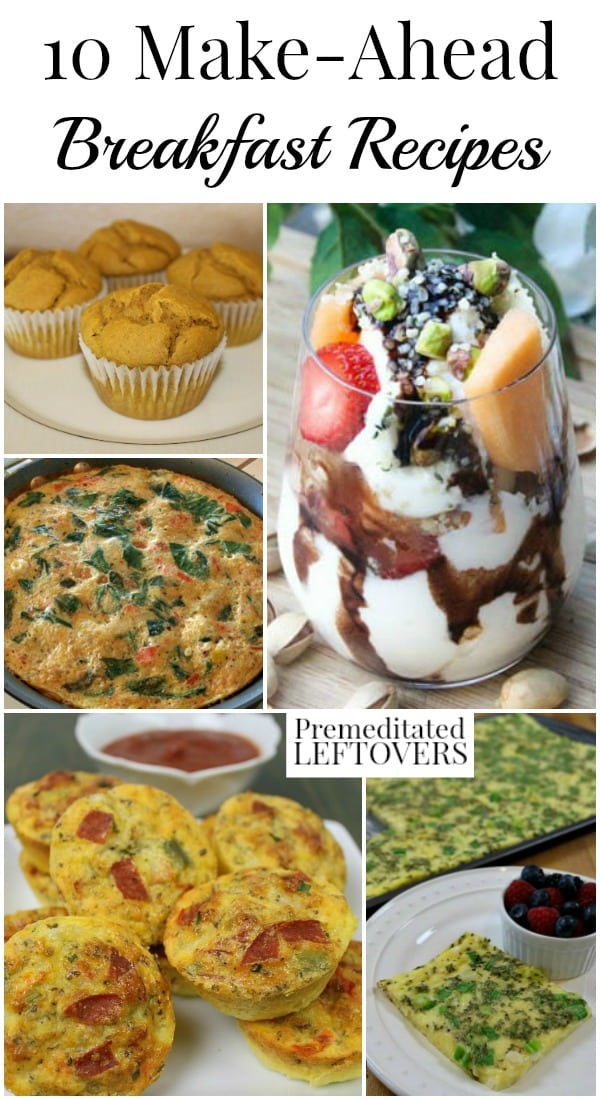 Make just a few of these 10 delicious make-ahead breakfast recipes and you will be able to eat homemade breakfasts on the go all week long.