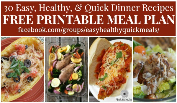 Healthy Dinner Menu Plan - 30 Quick and Easy Recipes