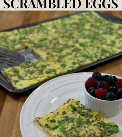Batch Cooked Baking Sheet Scrambed Eggs Recipe - An easy make-ahead breakfast recipe