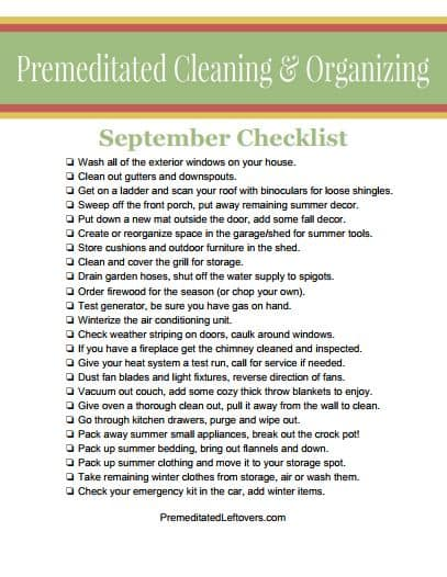 Printable Cleaning List for September