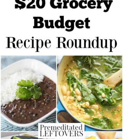 This $20 Grocery Budget Recipe Roundup shows that eating on a budget doesn't have to be boring. These recipes use cheap staple foods to make great meals.