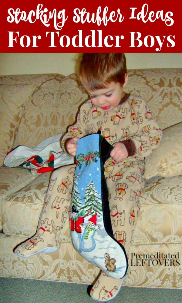 Here is a list of Stocking Stuffers for Toddler Boys - fun toys that will fit in his stocking are safe for kids under 3, and will build his motor skills.