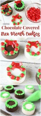 Chocolate Covered Oreo Wreath Christmas Cookies Tutorial