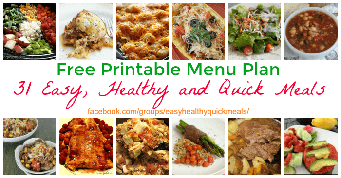 Healthy menu plan with 31 quick and easy dinner recipes