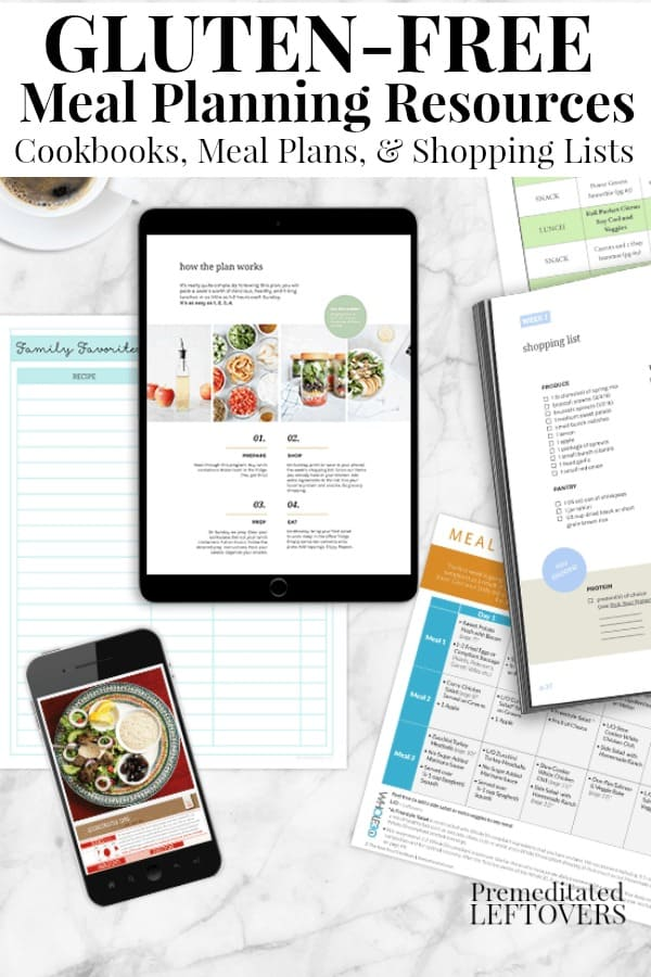 GThese Gluten-Free Meal Planning Resources include gluten-free cookbooks, gluten-free meal plans for breakfast, lunch and dinner, and shopping lists to go with the meal plans.