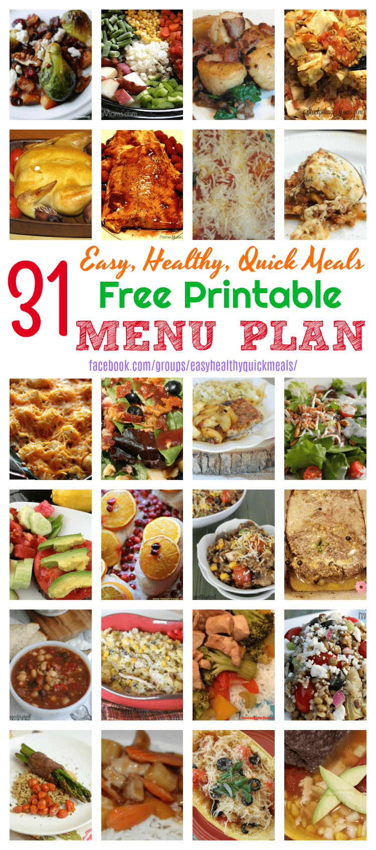 December Menu Plan with 31 healthy dinner recipes that are quick and easy to make.