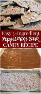 This easy peppermint bark candy recipe uses crushed candy canes.