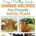 Healthy Dinner Meal Plan for January
