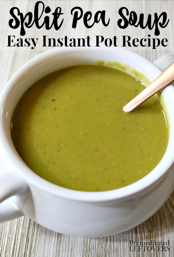 Quick and Easy Instant Pot Split Pea Soup Recipe - Use the pressure cooker option on your Instant Pot to make pea soup in 30 minutes. Add sherry and a ham bone for extra flavor!