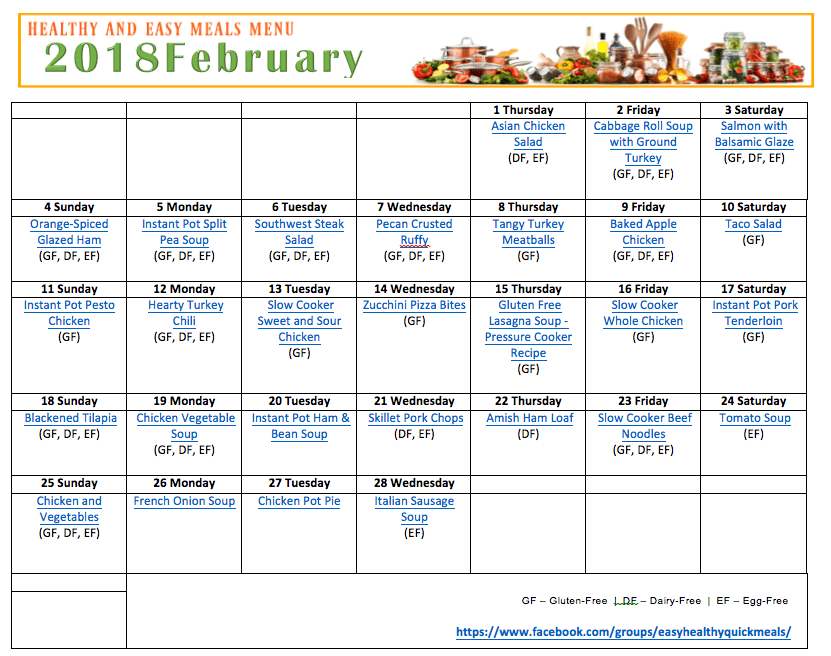 Printable meal Plan for February in a Calendar format
