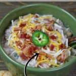 jalapeno popper turkey chili recipe in green bowl
