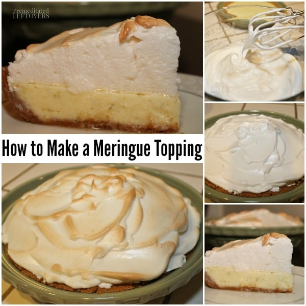 step by step directions for making a meringue pie toppping