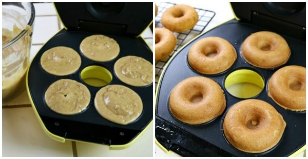 Pictures of the peanut butter doughnuts cooking in an electric doughnut maker