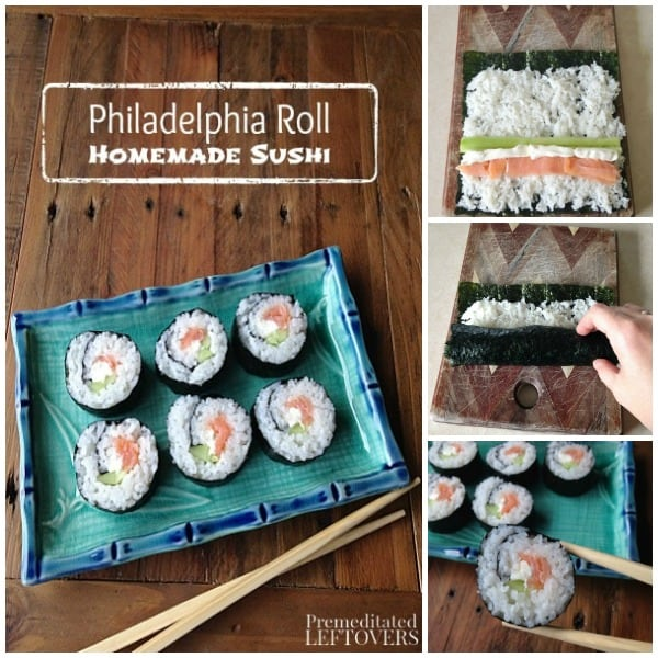 Homemade Philadelphia Roll sushi tutorial with step by step pictures