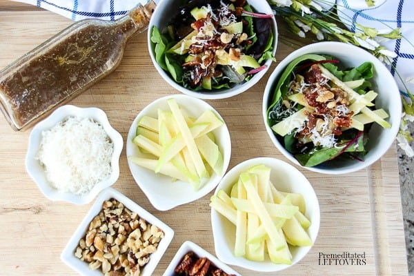 Ingredients for Apple Walnut Salad Recipe with bacon and a homemade apple dressing