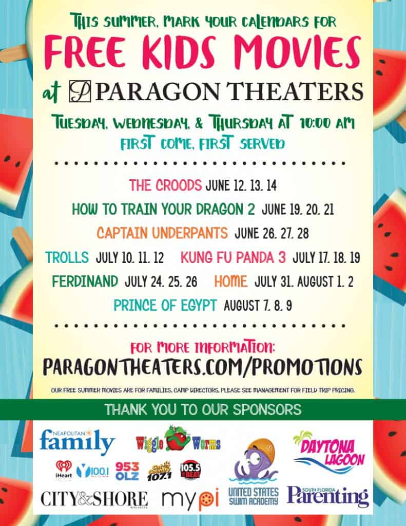 Paragon-Free-Summer-Movies for kids - list of movies