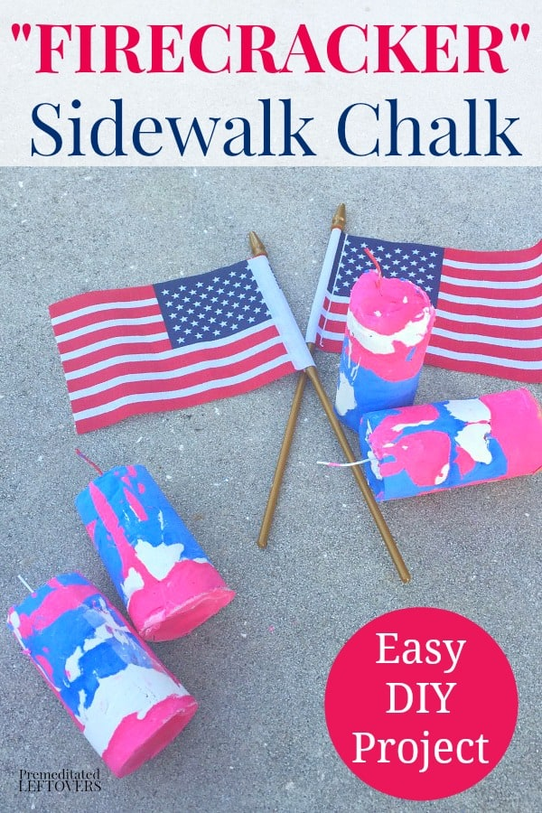 Easy DIY firecracker sidewalk chalk and American flag ready for kids 4th of July party favors.