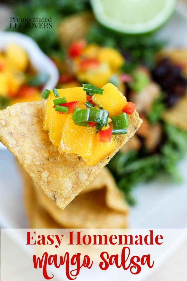 Easy homemade mango salsa recipe on tortilla chips