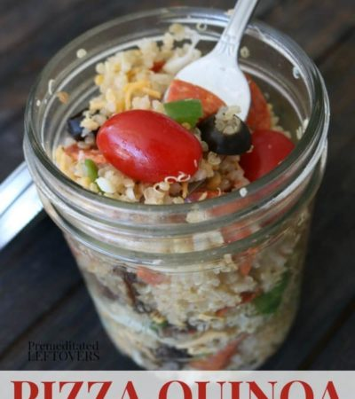 Pizza Quinoa Salad Recipe stored in a 2 cup wide-mouth mason jar