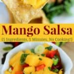 Quick and Easy Mango Salsa Recipe - no cooking and only 5 ingredients.
