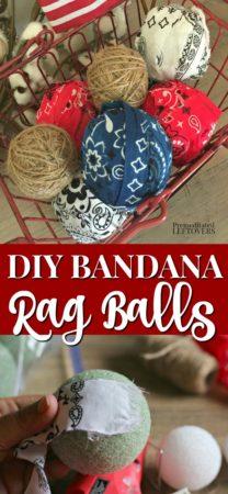 diy rag balls made with bandanas and twine