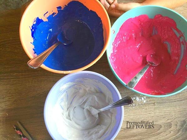 firecracker sidewalk chalk mix - red, white, and blue chalk mix in bowls