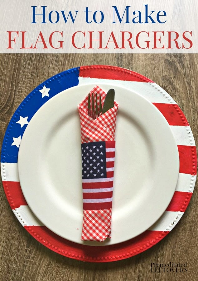 how to make patriotic flag plate chargers.