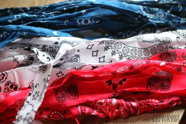 Torn bandanas to use as fabric strips to make rag balls.