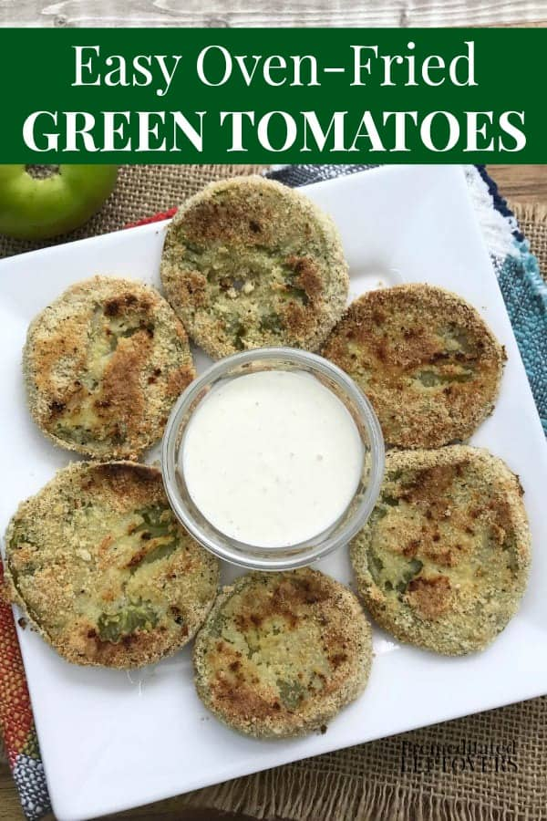 Easy Oven-Fried Green Tomatoes Recipe on plate with horseradish sauce